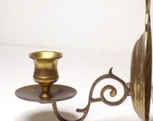 Brass Wall Sconce Candlestick, Mounted Candle Holder, Single Wall Decor Lighting Vintage 1970s