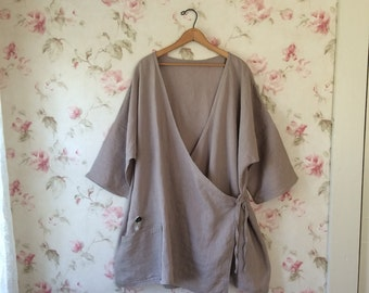 Washed Linen Wrap Jacket Asymmetric Smock Natural Linen Tunic Shirt Sweet Lagenlook Ready To Ship