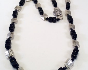 Art Deco style black cubes and silver squares necklace
