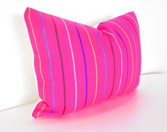 Pink Pillow, Tribal Pillows Covers, Colorful Pillow Covers, Fiesta decoration, Boho Bedding, Mexican Cushion, tribal pillowcase,12x16