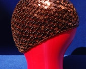 Vintage 70's DISCO hat NOS all sequin cap metallic copper glam rock reversible knitted hat by thekaliman
