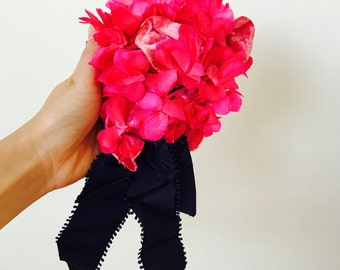 Vintage hot pink millinery flowers/Velvet leaves/Corsage