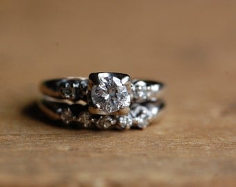 Vintage mid-century diamond wedding set .50 carat Old European Cut diamond
