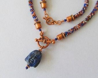 Blue Stone Buddha Head Pendant with Kumihimo Braid and Matching Bracelet