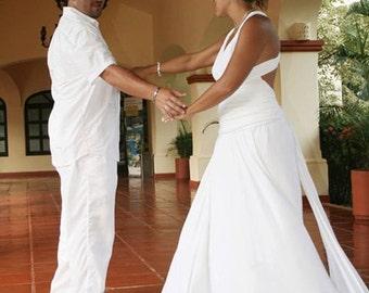 Bridgewater White-Long Octopus Convertible Wrap Gown-Maxi Wrap Dress, Boh Casual Chic Bridal Dress,Maternity