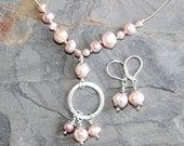 Pearl Jewelry Set, Pink Jewelry Set, Blush Jewelry Set, Handmade Jewelry Set, Spring Jewelry Set, Valentine Jewelry Set, For Her