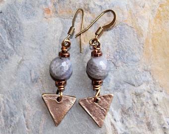 Triangle Earrings, Labradorite Earrings, Natural Stone Earrings, Gray Earrings, Bronze Earrings, Geometric Earrings, Handmade Earrings