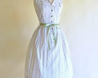 Vintage 1950s Day Dress...BRENTWOOD Cotton Day Dress Shirtwaist Dress