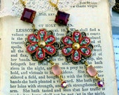The Roses of Rome,Vintage 1940 Red &Pink Floral Micro Mosaic, Vintage Red and Pink Rhinestone Altered Assemblage Earrings HollywoodHillbilly