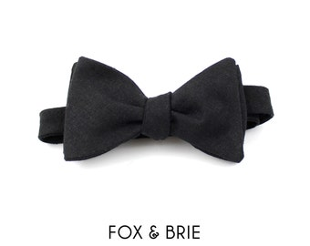 Black Linen Bow Tie