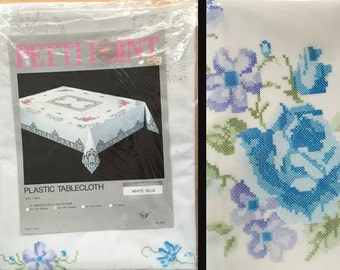 """Petit Point Floral Vinyl Tablecloth, New In Package, Vintage 1960s, 60"""" x 90"""" Oblong, Blue Purple White, Plastic Lace, Made in Japan Unused"""