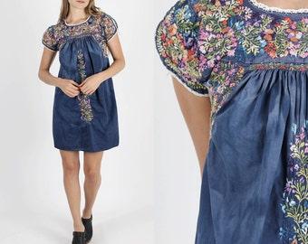 Vintage Oaxacan Dress Mexican Dress Boho Dress Hippie Dress Hippy Dress Vintage 70s Dress Floral Hand Embroidered Hippie Navy Mini S