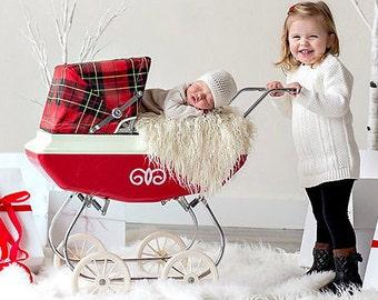 Cream Super Long Faux Fur Nest Photography Prop Rug Newborn Baby Toddler 27x30