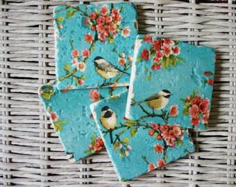 Floral Bird Stone Coaster Set of 4 Tea Coffee Beer Coasters