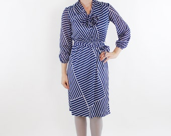 Vintage 70's secretary dress, navy blue & white, diagonal stripes, lightweight polyester, semi sheer sleeves, tie belt, neck bow - Small