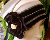 Womens Summer Chemo Hat Beanie Headcover Flapper Black and cream chemo hat 1920s Bohemian Gypsy