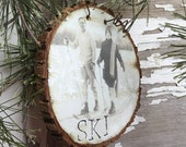 Fetching Vintage Couple Snow Skiing - Vintage Ski Ornament - Wood Slice Ornament - Skier - Ski Wedding - Christmas - Gift