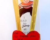 Vintage Valentine Card - Ski Valentine Card - Skiing Valentine - Vintage Ski - Ephemera - Collectible Valentine - Ski Art - Valentine's Day
