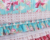Turquoise Roses Baby Girl Crib Bedding -  Shabby Chic baby bedding with lace ruffle crib skirt - nursery bedding  by lottiedababy- LAST ONE!
