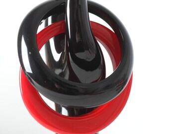 Set of Odd Shape Bangles - Black and Red Bracelet Set