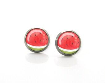 Summer watermelon red green Titanium Post Earrings | Hypoallergenic Earring Stud | Titanium Earring Stud | Sensitive jewelry post studs