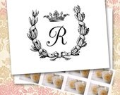 Initial Note Cards, Oak and Laurel Leaf Wreath with Napoleonic Crown, Custom Personalized, Elegant, French Empire,  Made to Order MONOGRAM