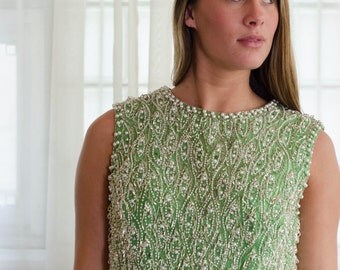 1960s Beaded Top - Vintage 60s Crop Top - All the Luck Beaded Top