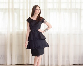 1960s Silk Dress - Vintage 60s Little Black Dress - Top Tiered Dress