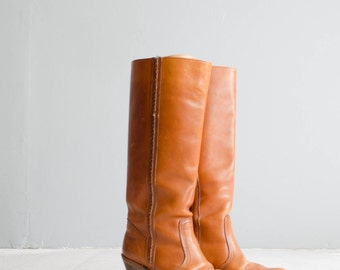 Vintage 1970s Leather Boots - 70s Tall Boots - Caramella Leather Boots