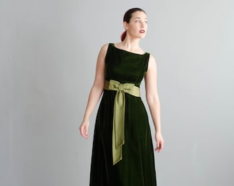 Vintage 1960s Long Velvet Dress - 60s Party Dress - Let's Be Festive Dress