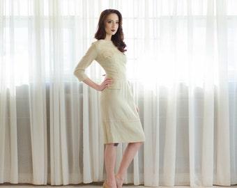 50s Wool Dress - Vintage 1950s Dress - Blank Canvas Dress
