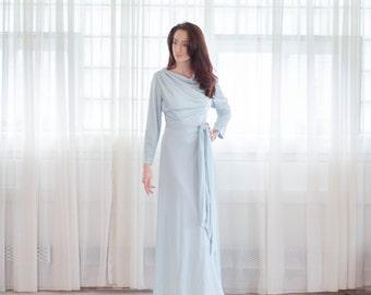 Vintage 1970s Maxi Dress - 70s Light Blue Gown - Aphrodite Dress