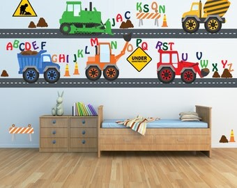 Alphabet and Monogram Construction Trucks Decals REUSABLE Fabric Decals, SIXTEEN FEET of Roadway, A171A