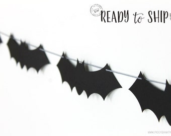 Bat Garland - Small : Handcrafted Vampire Bat Bunting | Super Hero Party Decoration | Halloween Photo Booth Decoration | READY to SHIP