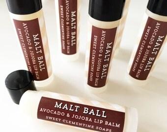 Malt Ball Lip Balm, Moisturizing Avocado and Jojoba Oil Lip Balm, Avocado Oil, Jojoba Oil, Milk Chocolate Lip Balm, Malted Milk