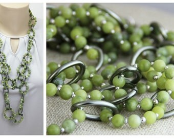 Green Serpentine Stone Beaded Statement Necklace -Long Chunky Big Stone Chain Silver Gunmetal Olive Chartreuse Moss Green