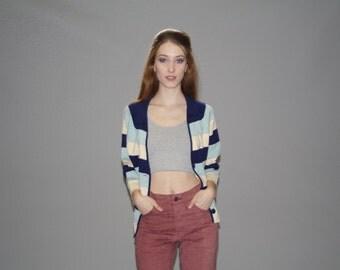Vintage 1960s Blue Striped Mod Wool Knit Cardigan  -  Vintage 60s Blue Cardigan  -  Vintage Knit Cardigans  - WT0410
