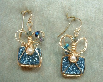 Cadet Blue with pearls earrings