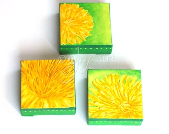 3 Yellow Dandelions - Original art for home or office, Set of 3 4x4 dandelion flower paintings