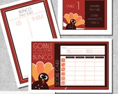 Thanksgiving Bunco Score Card Set - Gobble 'til you Wobble Includes - Us Them Tally Sheet and Table Cards - Instant Download -  #00111T-ID