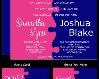 Jigsaw Puzzle Pink and Blue B'Nai or B'Not Mitzvah Invitations  - Custom Colors Available - Rsvp Card - Thank You Note - Envelope Addressing