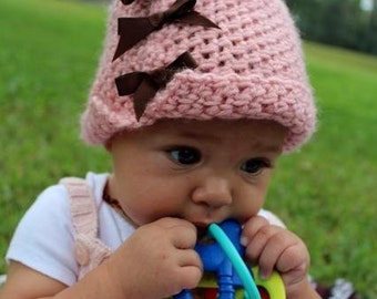 Crochet Paiyton Cloche Hat with Grosgrain Ribbon Bows Buttons Infant Baby Toddler Photo Prop Custom Colors Winter Fall Velvet Acorn Pattern