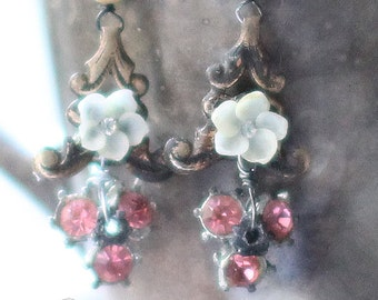 Pink Rain~ vintage assemblage earrings floral pink rhinestones antique book chain one of a kind crowned by grace