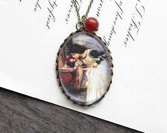 The Shrine Necklace. John William Waterhouse. (magnifying pendant art book illustration jewelry antique romantic roses)