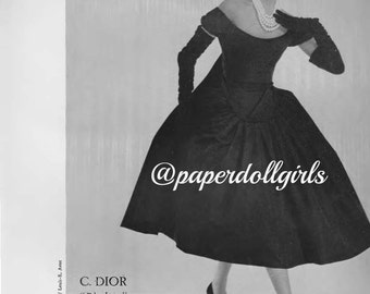 Vintage Fashion Magazine Advertisement L Officiel April 1956 Magazine Ad Dior Cocktail Dress Nina Ricci Evening Dress Paris Haute Couture