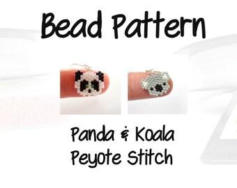Bead Patterns - Mini Panda & Cute Koala, Peyote / Brick Stitch Bead Weaving   PDF DOWNLOAD