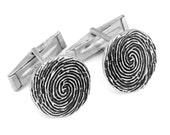 Custom Fingerprint Set of Cuff Links, Sterling Silver Cufflinks, Personalized Fingerprint Jewelry, Father's Day Gifts