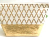 Large gold cosmetic makeup toiletries travel accessory washbag two-tone bag pouch