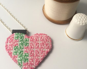 Pink Green Embroidered Heart Pendant