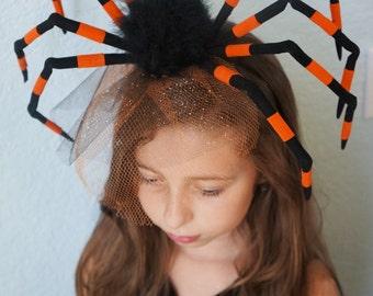 Black BROWN WIDOW SPIDER Halloween Headpiece Gothic Steampunk Scary Creepy Costume Party Headband Netting Tulle Birdcage Veil Fascinator
